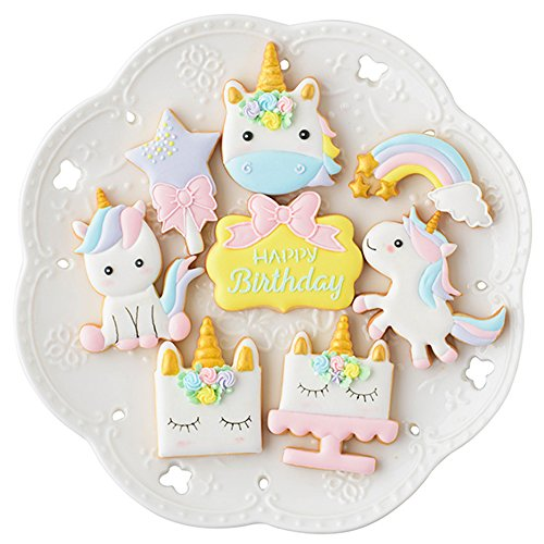 Mini Fantasy Unicorn Cookie Biscuit Fondant Cake Mold - Set of 16 - 8Pcs Cookie Cutter and 8Pcs Cookie Stencils, Include Unicorn Head, Unicorn, Plaque Frame, Magic Wand and Rainbow (Wand Cookie)