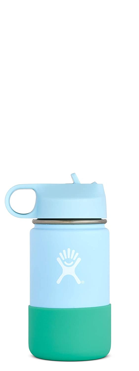 Hydro Flask 12 oz Kids Water Bottle - Stainless Steel & Vacuum Insulated - Wide Mouth with Straw Lid and Silicone Boot - Multiple Colors