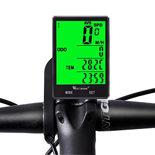 Wireless Bicycle Speedometer Waterproof Cycling Computer with LCD Green Backlight, Cycle Bike Odometer 15 Functions Speed compare record AVS SPD ODO MXS TM COLOCK etc, Bike Accessories for Riders by WESTGIRL (Image #1)