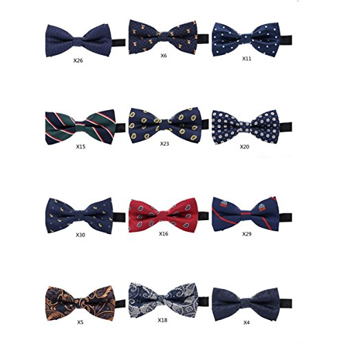 WANNISHA Mens Classic Formal Tuxedo Bow tie Adjustable Length Neckties