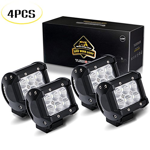 TURBO SII 4pcs 4 Inch Pods Cube flood Beam 18W led Work Light Driving Fog Lights For Dodge Ford Jeep Polaris RZR Ranger ATV UTV Can Am Maverick Boat Suv Truck 4X4 4WD Off Road 12V-24V