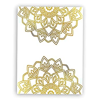 Mandala Gold Foil Print Indian Meditation Yoga Room Art Poster Minimalist Typographic Cardstock Art Print Poster Home Decor Wall Art (8 X 10 inch, Set ...