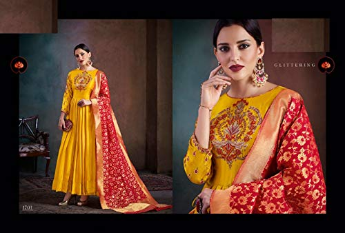 Dupatta Banarasail Silk Dress Anarkali Emporium Salwar Ladies Kameez Ethnic Wear In Abito Party 7118 Seta Lungo Festival Diwali 01qHx