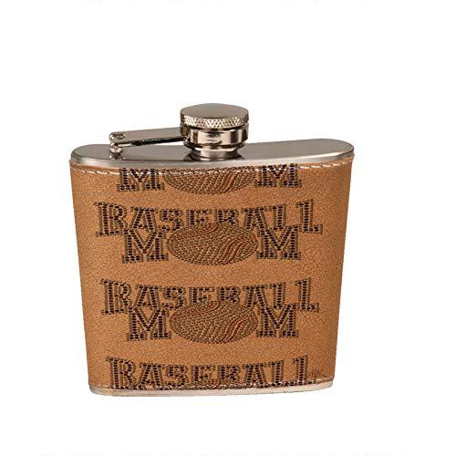 Baseball Mom Leather Flask - 6 oz. Leather Wrapped Liquor Hip Flask Baseball 6 Ounce Flask