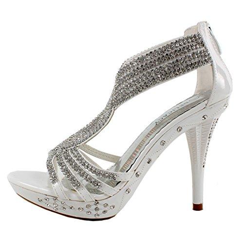 Fabulous Women's Delicacy-07 Platform Sandals, White Pu, 8.5