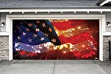 Outdoor Patriotic American Holiday Garage Door Banner Cover Mural Décoration 7'x16' - American Flag and Fireworks - Outdoor Patriotic Garage Door Banner Décor Sign 7'x16'