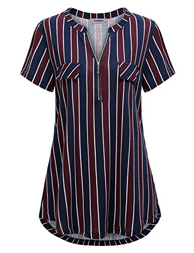 - Office Blouses for Women, Juniors Cute V Neck Short Sleeve Tshirt Comfy Soft Striped Print Tunic Shirt Slimming Shirttail Tops Wear to Work Clothing Wine Navy XXL