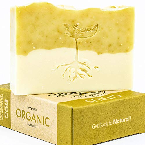 Citrus Soap - Handmade with Orange Peel & Essential Oils of Lemon, Orange & Bergamot, All Natural Glycerin Soap Bar Made w/Organic Ingredients, Handcrafted in USA 4.7oz