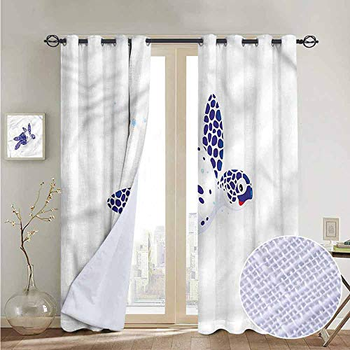 NUOMANAN Curtains Turtle,Loggerhead Marine Reptile,Treatments Thermal Insulated Light Blocking Drapes Back for Bedroom 52