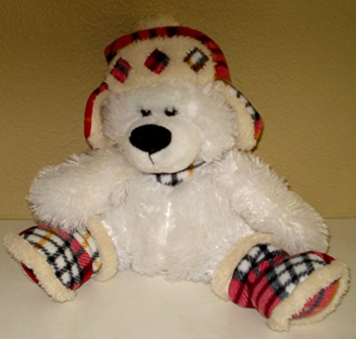 Teddy Bear White Plush With Lumberjack Style Hat And Boots -