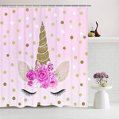(Romeooera Unicorn Shower Curtains, Cute Pink Floral Unicorn Magic Head Twinkle Star Shower Curtain, Mildewproof Waterproof Unicorn Curtains with Hooks for Bathroom Window Decor)