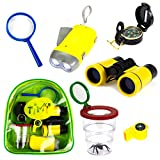Timy 6 in 1 Outdoor Exploration Kit for Kids Adventurer Set with Binoculars, Flashlight, Compass, Whistle, Magnifying Glass, Bug Container, Bag (8 Piece)