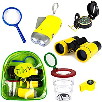 Timy 6 in 1 Outdoor Exploration Kit for Kids Adventurer Set with Binoculars, Flashlight, Compass, Whistle, Magnifying Glass, Bug Container, Bag