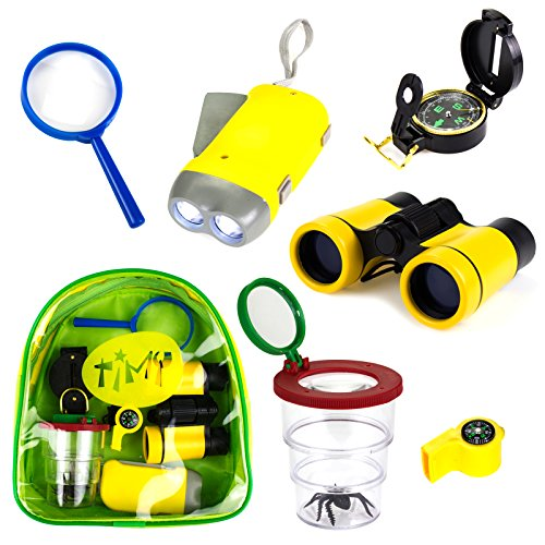 Timy 6 in 1 Outdoor Exploration Kit for Kids Adventurer Set with Binoculars, Flashlight, Compass, Whistle, Magnifying Glass, Bug Container, Bag (Kids Binoculars Set)