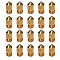 20 pcs 3D Printer Filament nozzles 0.4mm MK8 Print Head for Creality Cr10 Brass Extrude Nozzle Print Head-1.75mm Filament ABS- for Makerbot 3DPrinter/Monoprice/FlashForge/