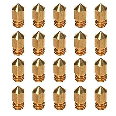 20 pcs 3D Printer Filament nozzles 0.4mm MK8 Print Head for Creality Cr10 Brass Extrude Nozzle Print Head-1.75mm Filament ABS- for Makerbot 3DPrinter/Monoprice/FlashForge/