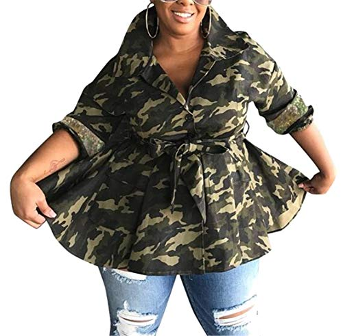 Fubotevic Women Patchwork Flare Trench Coat Belted Sequins Camo Print Denim Jacket Coat Outwear 1 -
