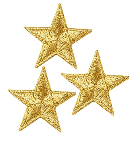 Simplicity Gold Star Applique Clothing Iron On Patch, 3pc, 1.25