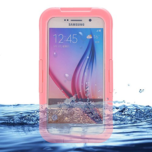 Eazewell Samsung Galaxy S6 Waterproof Case,Ultra-Slim IP68 Water Resistant Rugged Cover Shockproof Dustproof Snowproof Protective Shield Dry Box Hard Pouch for Samsung Galaxy S6 SVI SM-G920 (Pink) by Eazewell