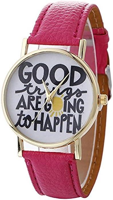 rainbabe – Reloj de pulsera para mujer Inglés patrón de aleación de reloj con correa de piel sintética