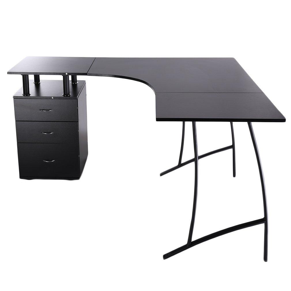 Homgrace Bureau Informatique Bureau ordinateur en forme L bureau de travail d'étude à la maison table d'ordinateur