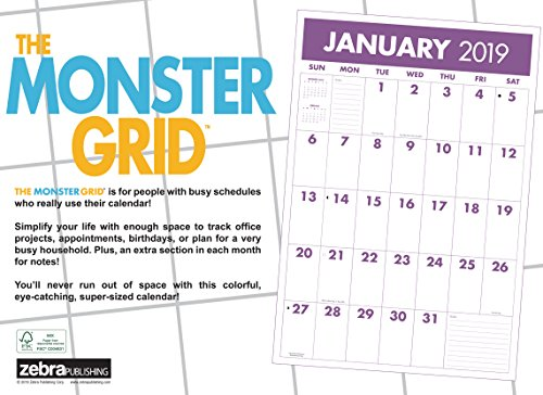 monster grid 2019 wall calendar large 12 month home office
