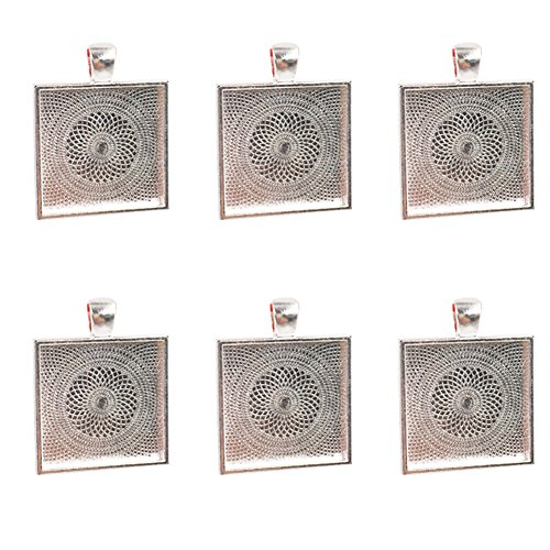 Dcatcher 24 PCS Bezel Pendant Trays Square Cabochon Settings Trays Pendant Blanks, Silver (Silver Plated Cabochon Pendant Setting)