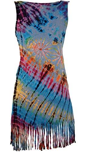 Mini Azzurro Sintetico GURU Frangia Abito Corti Dimensione 38 SHOP Batik Abiti Indumenti Vestito Boho Arancione UFA5wFq