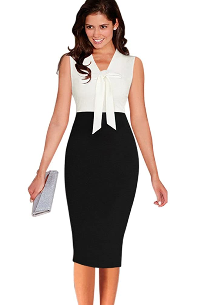 e525f6129f HowFitU Womens Bowknot Front V Neck Sleeveless Wear to Work Business Sheath  Dress at Amazon Women s Clothing store