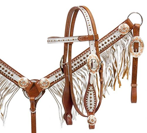 (Showman Horse Bridle, Breast Collar, and Split Reins Set with Silver Overlay and Fringe and Rose Gold Accents)