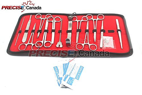 PRECISE CANADA: 23PCS ADVANCED DISSECTION DISSECTING KIT- BIOLOGY & ANATOMY - SCIENCE STUDENTS- TOOLS-FREE CASE- SCALPEL KNIFE HANDLE BLADES- VETERINARY BOTANY LAB - ANIMALS FROGS WORMS ETC