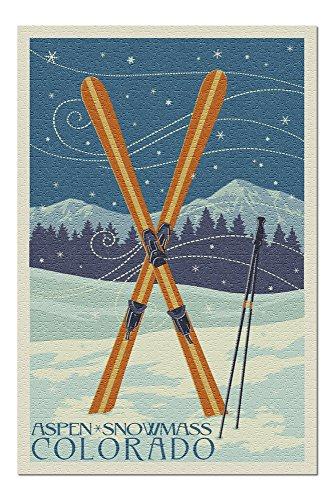 Aspen, Snowmass, Colorado - Crossed Skis Letterpress (20x30 Premium 1000 Piece Jigsaw Puzzle, Made in USA!)