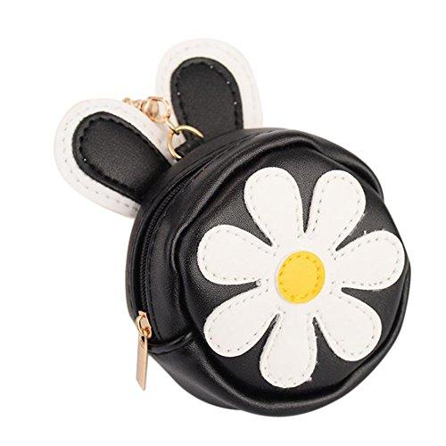 Outflower Chrysantheme Muster Leder Münzfach Halter Tasche Schlüsselanhänger Damen Mini Handtasche Reißverschluss Geldbörse Nette Frauen Brieftasche Auto Anhänger Zubehör für Geschenk (Lila) Blau H4ZLdGvV54