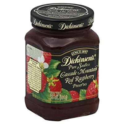 Dickinson's Cascade Mountain Pure Seedless Preserves Red Raspberry, 10-ounce Jars (Pack of 6)