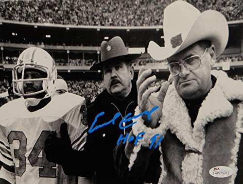 Earl Campbell HOF Signed Houston Oilers 8x10 With Bum Phillips Photo- JSA W Auth - Hand Signed Houston Oilers