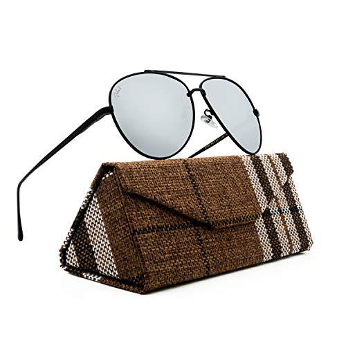 Polarized Classic Aviator Sunglasses, Men's and Women's Glasses (Black Frame/Silver Lens) (School Sunglasses Old Biker)