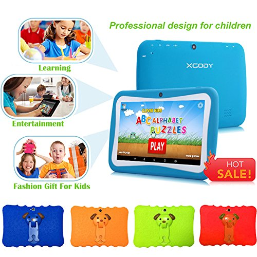 7'' Kids Tablet PC, Android 4.4 8GB ROM 1G RAM Tablet Dual Camera WiFi USB Phablet Silicone Case by XINSC (Image #4)'