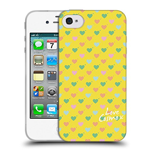 Official Cosmopolitan Ditsy Hearts Pastels Soft Gel Case for Apple iPhone 4 / 4S