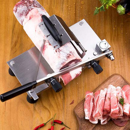 CGOLDENWALL Manual Frozen Meat Slicing Machine Small Stainless Steel Beef/Mutton Roll Slicer Meat shaving machine Hand-operated Meat Slicer Household Cutting Machine (202 stainless steel) by CGOLDENWALL (Image #3)