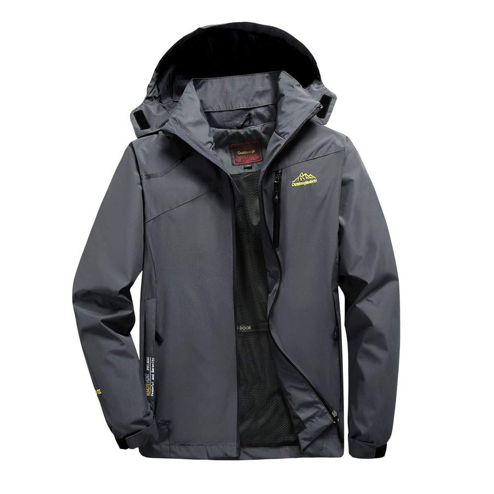 Amacok Men's Windproof Jacket, Mountain Waterproof Sportswear Hooded Coat