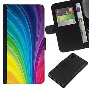 Sony Xperia Z1 / L39h / C6902 Modelo colorido cuero carpeta tirón caso cubierta piel Holster Funda protección - Vertical Swirling Rainbow Colors Colorful