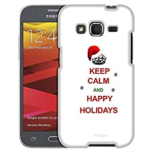 Samsung Galaxy Prevail LTE Case, Slim Fit Snap On Cover by Trek KEEP CALM and Happy Holidays on White Case