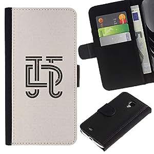 iBinBang / Flip Funda de Cuero Case Cover - Cartas Caligrafía Diseño Insignia - Samsung Galaxy S4 Mini i9190 MINI VERSION!