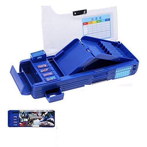 GDpowerseller Students Multifunction Stationery Pencil Case Korean Sky Blue Box (Dark (Transformers Pencil Case)