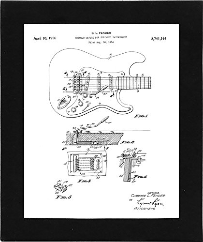 Patent Artwork Guitar - Fender Stratocaster Guitar Patent Poster - 8x10 Framed Art Print - Great Gift for Guitarists and Musicians - Black Frame - Ready for Hanging on any Wall