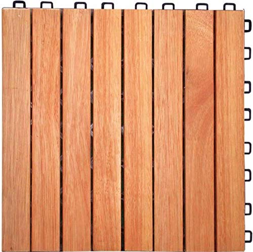 (Vifah V375 Outdoor Patio 8-Slat Eucalyptus Interlocking Deck Tile (Set of 10 Tiles); Outdoor Covering for Patios, Decks, Balconies, Porches, Walkways, Pools and Hot Tubs)