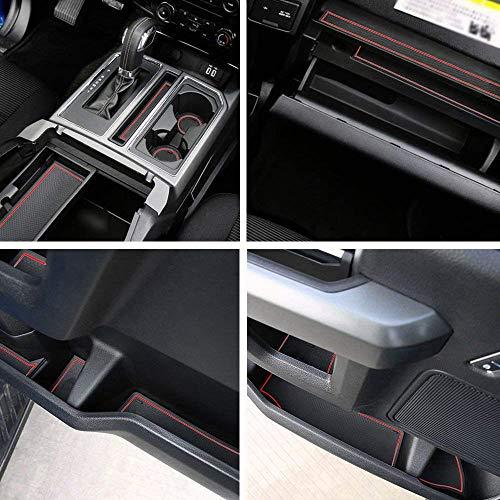 Auovo Anti-Dust Interior Cup Mats Door Gate Slot Pad Storage Mats Ford F150 2015 2016 (29PCS/Set 2015-2016, red)