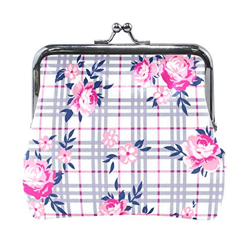 Daisy Rose Bouquet - Bouquet Roses Pattern With Small Daisies On Plaid Leather Kiss-Lock Coin Purse Wallet Portable Clutch bag For Women Girls