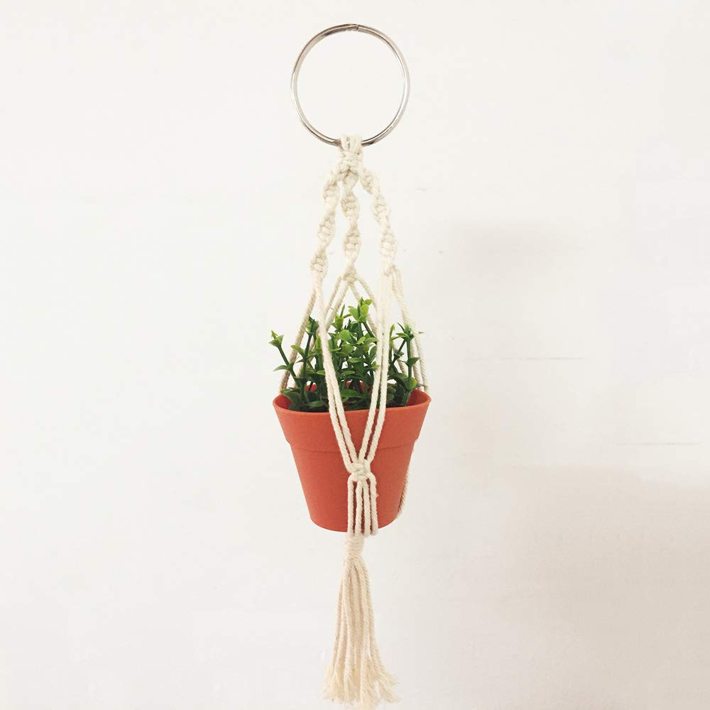 Macrame Plant Hanger Car Charm,Mini Car Rear View Plant Holder with Pot and Plant,Car Ornament Air Plant Holder - Hanging Planter Cotton Rope 13 Inch