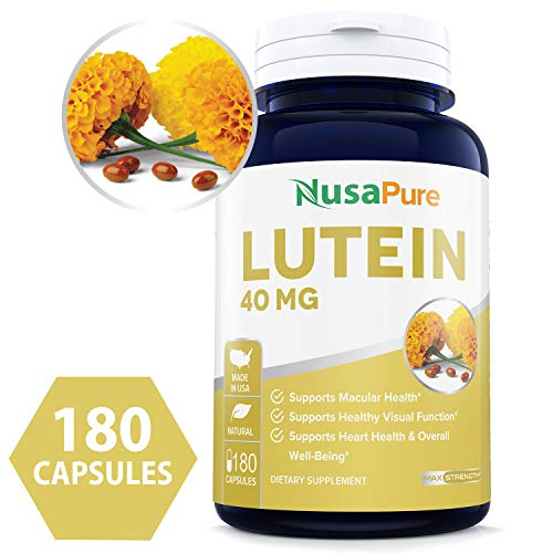 Lutein 40mg 180 Capsules (Non-GMO & Gluten Free) Vision Support Supplement for Dry Eyes & Vision Health Care - Proudly Made in The USA - 100% Money Back ()